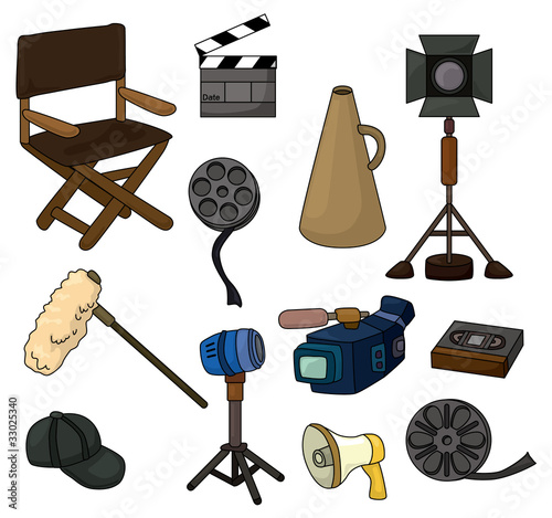 cartoon movie equipment icon set.