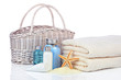 Skin care cosmetics with towels and bag