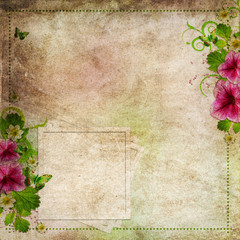 Grunge congratulation card with flowers and frame