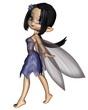 Cute Toon Fairy in Blue Flower Dress