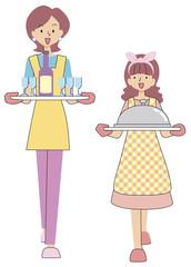 料理を運ぶ母と娘
