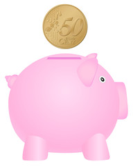 piggy bank and fifty euro cent