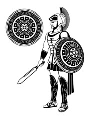 Roman warrior with sword and decorated shield