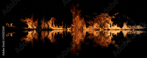 Fire with water reflection