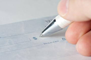 Closeup of a cheque