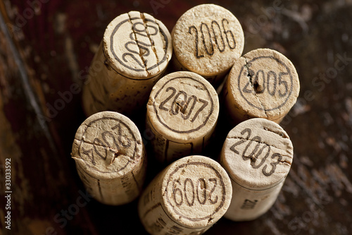 Bordeaux red wine bottle corks Poster