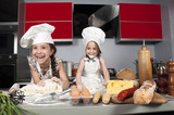 two little girl cook poster