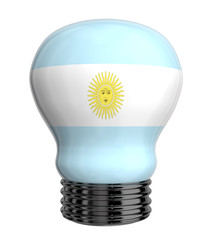 3d lamp with Argentina flag isolated