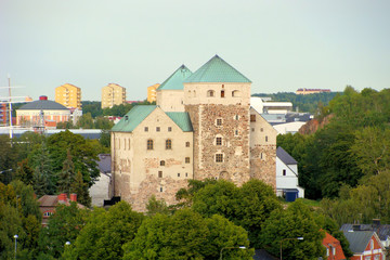 View of the ancient Turku Castle, Finland