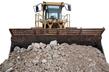 Bulldozer Loaded with Rubble