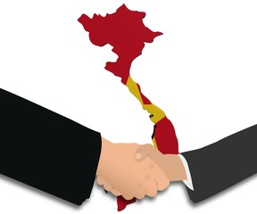 people shaking hands with Vietnam map flag illustration