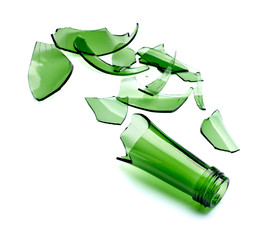 broken green bottle drink alcohol waste