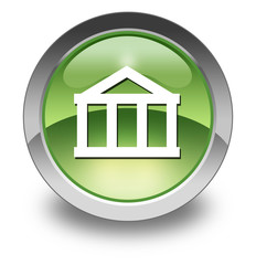 "Green Glossy Pictogram ""Bank"""