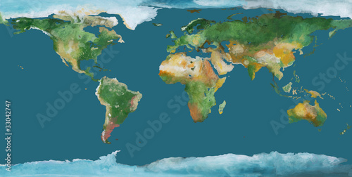 Earth map as brush illustration