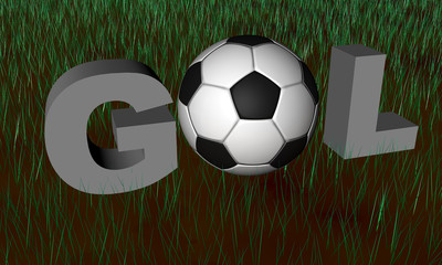 Brazilian word Gol in render 3D