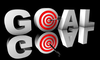 Goal word 3D isolated on black background