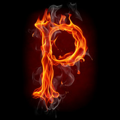 Fire font. Letter P.