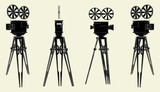 Antique Movie Stand Camera Vector 02