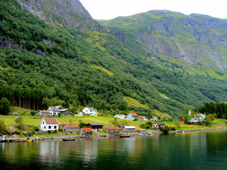 Tiny village of Bakka along the Naeroyfjord in Norway