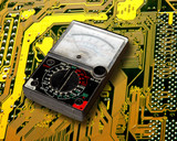 volt meter on  circuit board poster