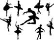 collection of ballerinas silhouette - vector