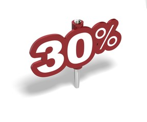 Soldes trente pourcent, label 30 percent sale
