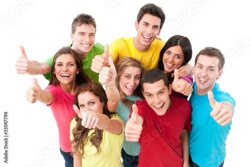 Happy joyful friends cheering