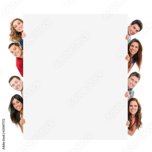 Happy people with banner