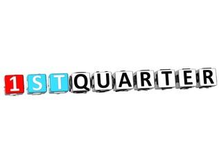 3D 1 St Quarter Cube Text