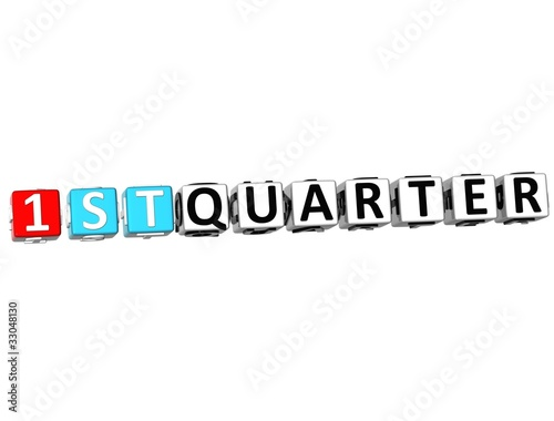 3D 1 St Quarter Cube Text