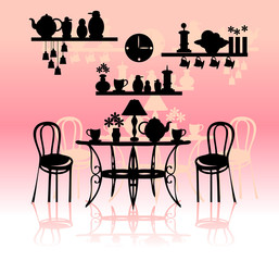 Retro kitchen silhouette background