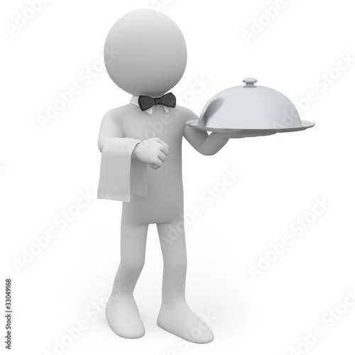 Waiter with a silver tray in hand