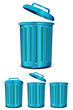 set blue steel garbage isolated on white background