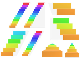 set of rainbow vector staircase isolated on white