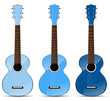 set of blue classical acoustic guitar isolated on white