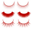set of red eyelashes isolated on white background