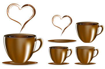 set of brown coffee cup with heart smoke isolated on white