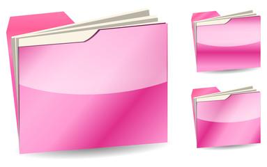 set of pink folder isolated on white background