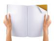 hand open blank magazine
