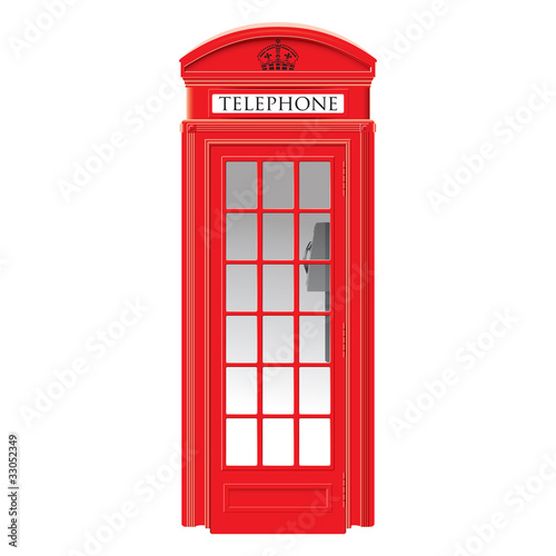 Red telephone box - London - detailed isolated illustration