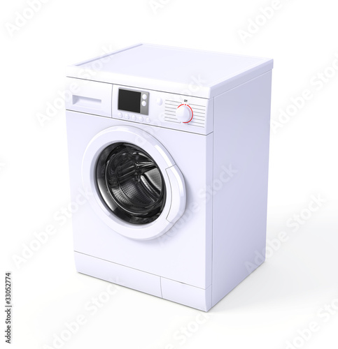 Leinwanddruck Bild Washing machine isolated over white - 3d render