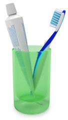 Toothbrush and toothpaste in a cup