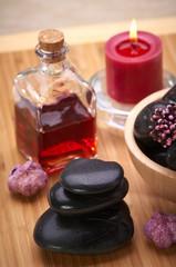 spa, black hot stone massage