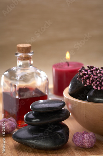 spa, black hot stones