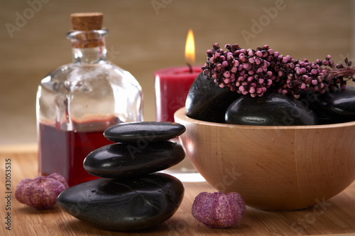 spa, hot black stone, with essential oil and potpourri