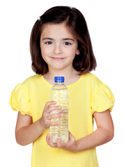 Brunette little girl with a water bottle