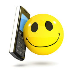 3d Smiley receives a welcome call on his mobile