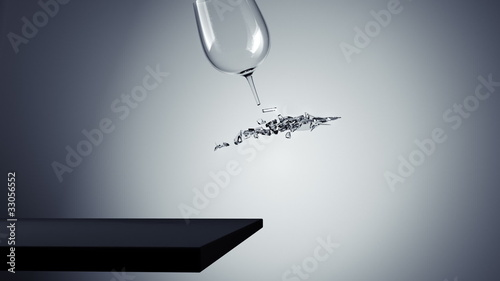 falling Glass crash slow motion animation