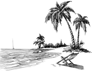 Summer beach pencil drawing