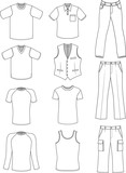 Man clothes summer collection isolated on white
